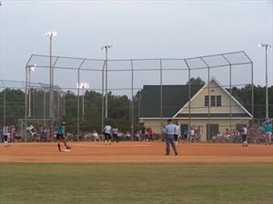 Ball Diamond with Building Behind Home Base