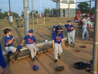 Boys sitting in Dugout