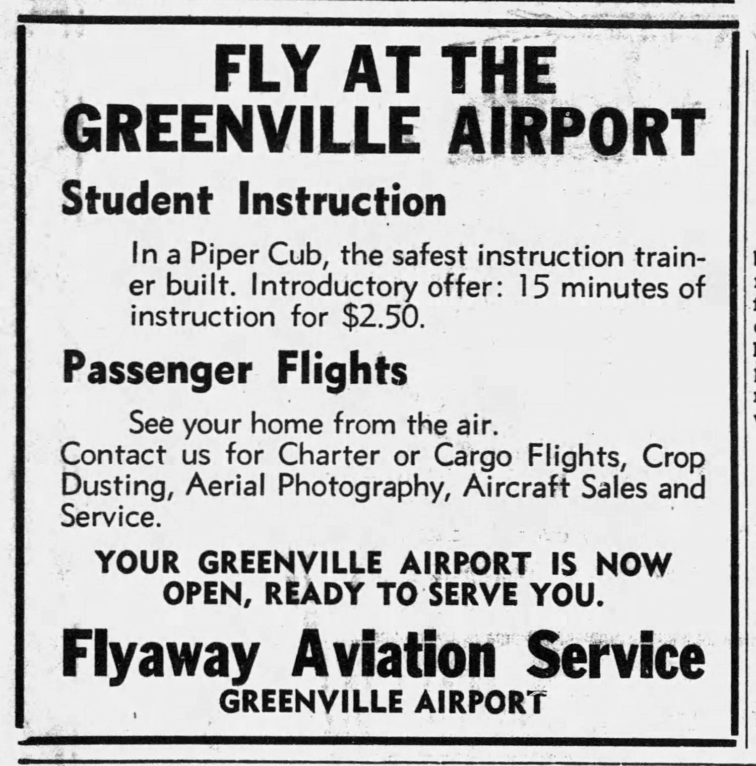 Airport Flyaway Aviation ad - Greenville_Advocate- Dec 13, 1934