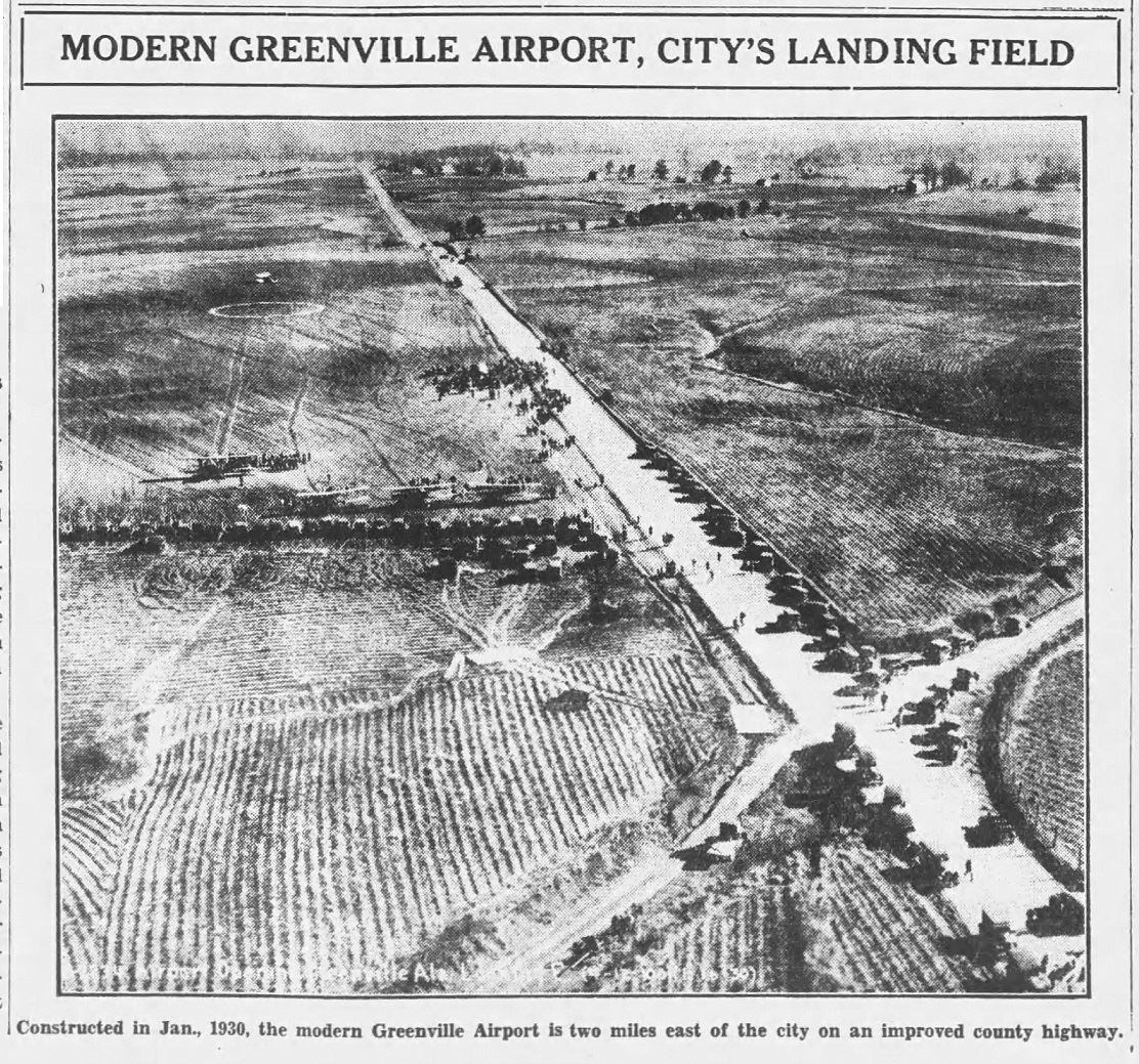 New airport with photo of field and planes -3-11-193- The Greenville Advocate